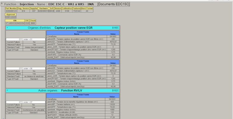 Diag DDT2000 Espace IV 2,2 dCI 150 Panne110