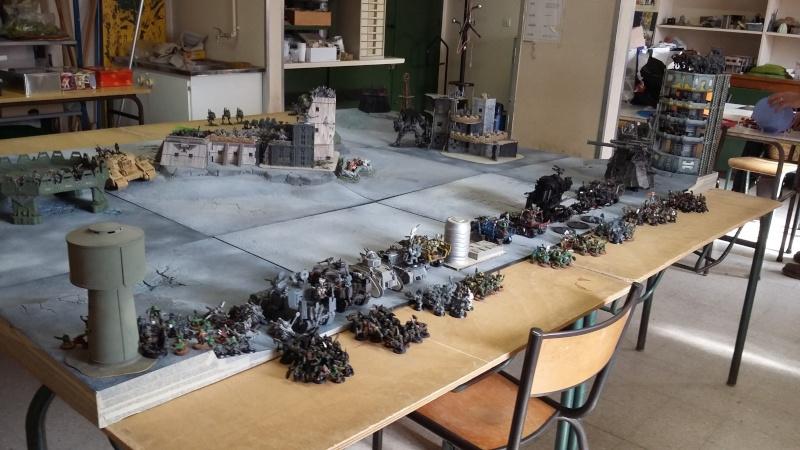 """Rapport de bataille Warhammer 40 000 du samedi 27 fevrier : scenario ORKS/SPACE WOLVES - """"Bataille pour du karbu"""" 39810"""