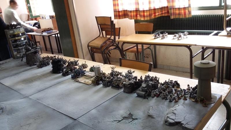 """Rapport de bataille Warhammer 40 000 du samedi 27 fevrier : scenario ORKS/SPACE WOLVES - """"Bataille pour du karbu"""" 39910"""