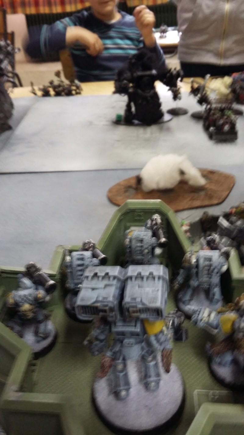 """Rapport de bataille Warhammer 40 000 du samedi 27 fevrier : scenario ORKS/SPACE WOLVES - """"Bataille pour du karbu"""" 45710"""