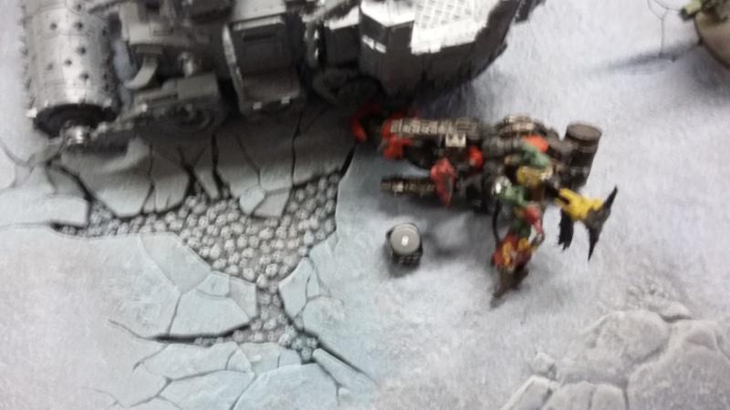 """Rapport de bataille Warhammer 40 000 du samedi 27 fevrier : scenario ORKS/SPACE WOLVES - """"Bataille pour du karbu"""" 45810"""