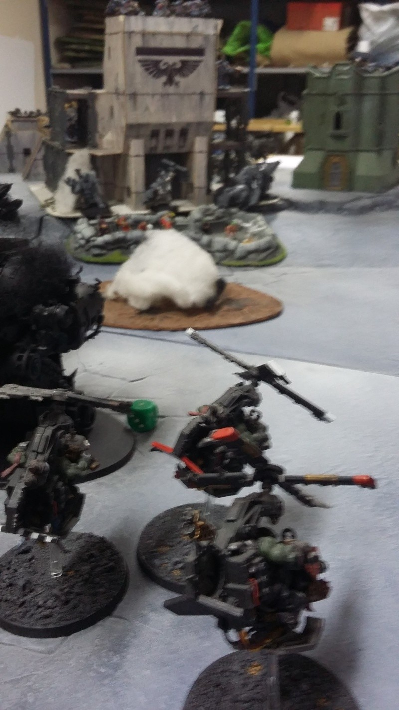 """Rapport de bataille Warhammer 40 000 du samedi 27 fevrier : scenario ORKS/SPACE WOLVES - """"Bataille pour du karbu"""" 48610"""