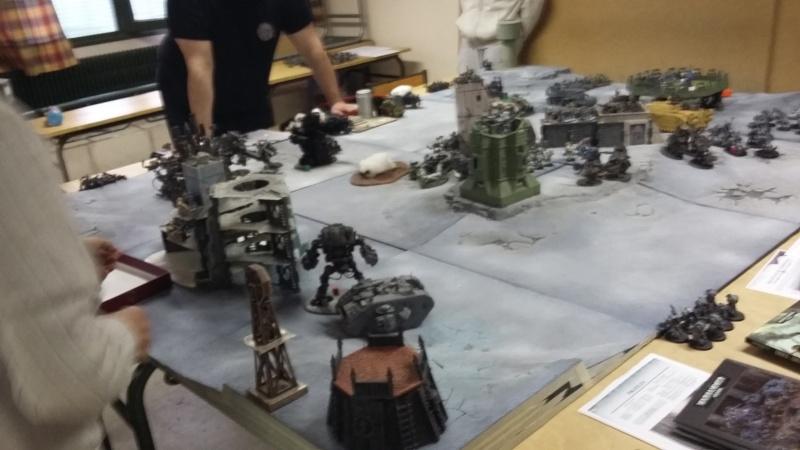 """Rapport de bataille Warhammer 40 000 du samedi 27 fevrier : scenario ORKS/SPACE WOLVES - """"Bataille pour du karbu"""" 50310"""
