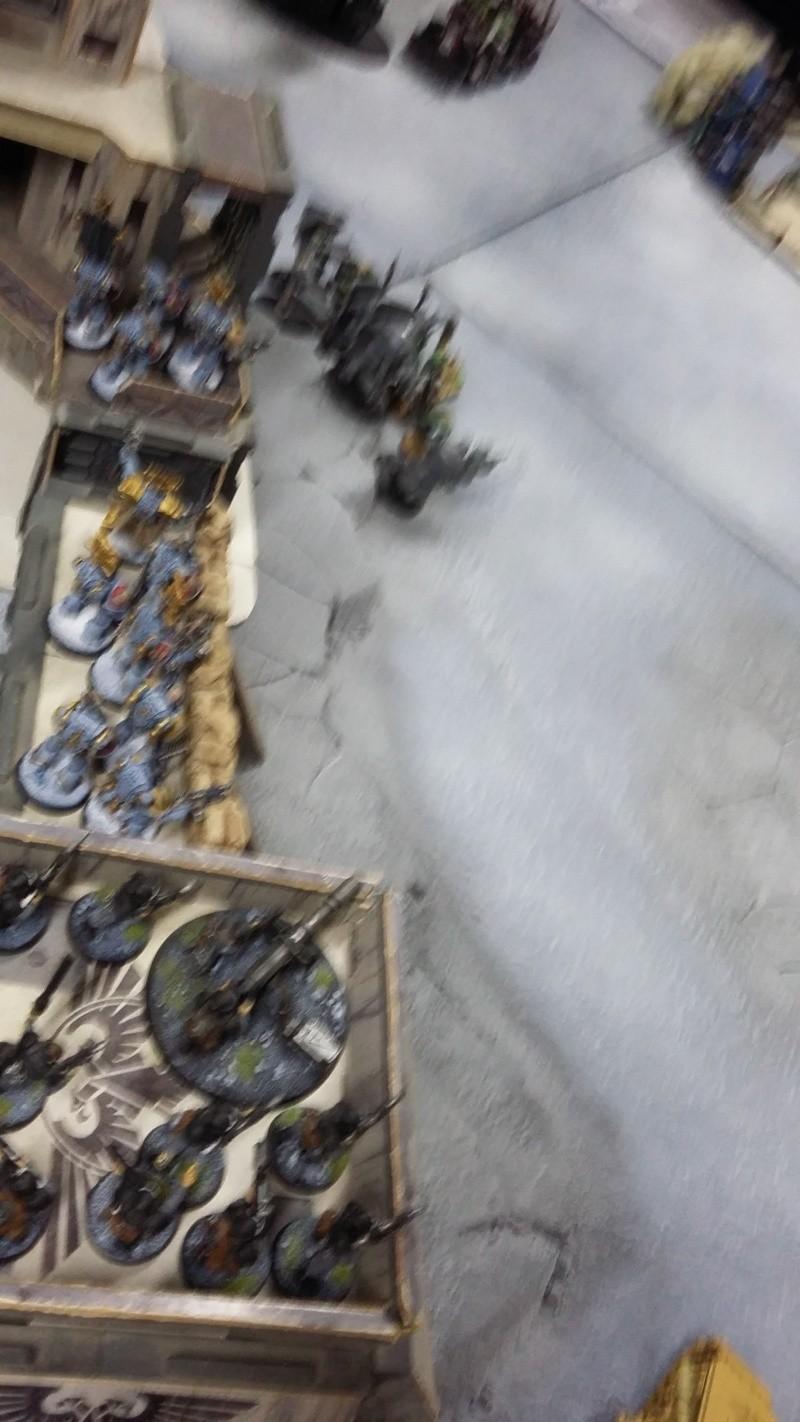 """Rapport de bataille Warhammer 40 000 du samedi 27 fevrier : scenario ORKS/SPACE WOLVES - """"Bataille pour du karbu"""" 53510"""
