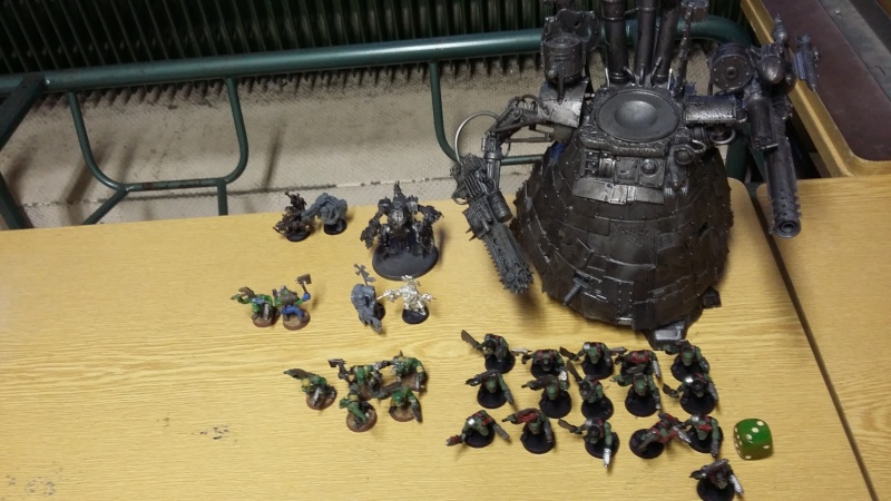 """Rapport de bataille Warhammer 40 000 du samedi 27 fevrier : scenario ORKS/SPACE WOLVES - """"Bataille pour du karbu"""" 53810"""