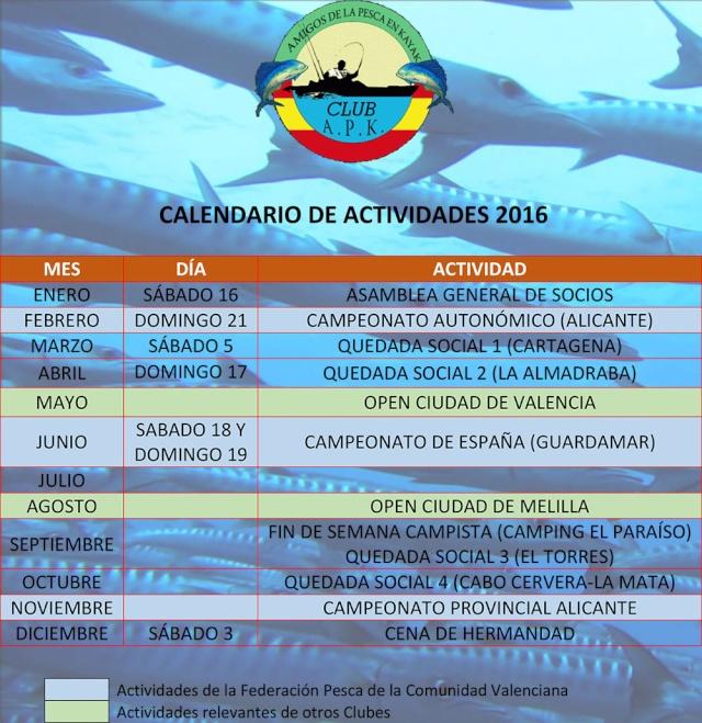 """Calendario de Actividades Club """"APK"""" Alicante Pesca en Kayak 2016 Calend13"""