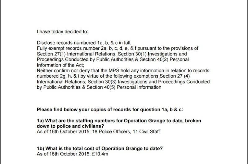 "FOI Request to Op Grange - ""A full murder investigation team"" Met10"