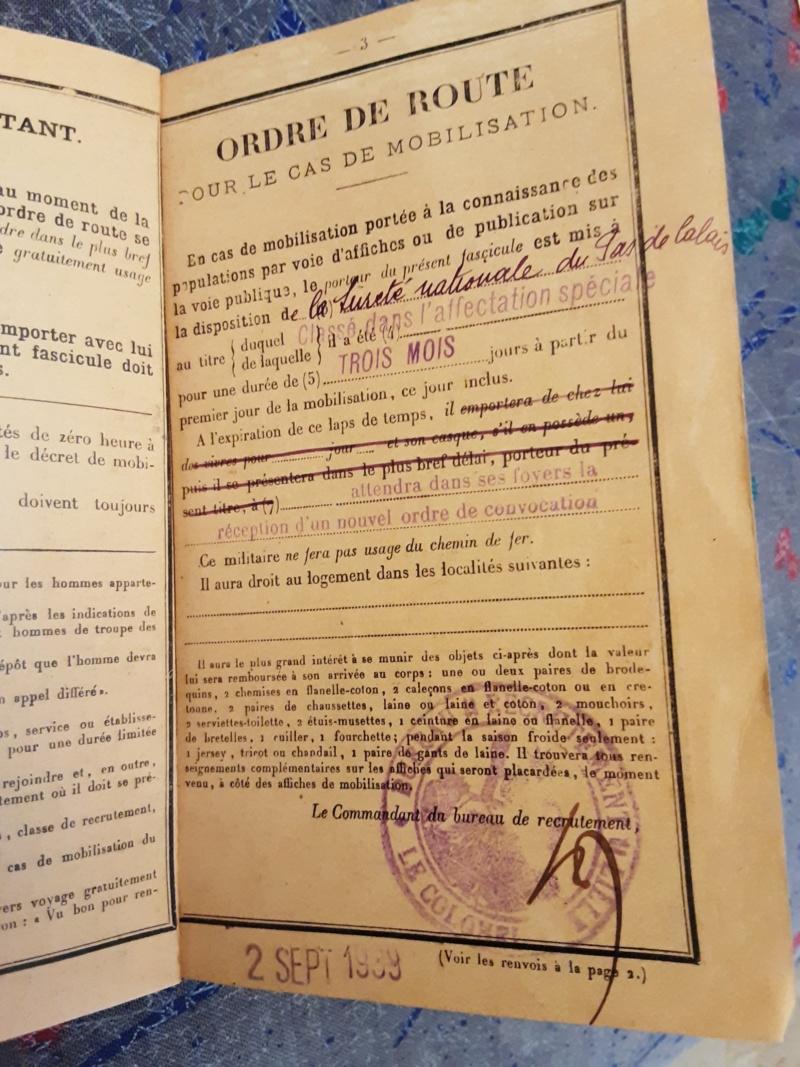 documents Commissaire de Police 1929 - 1939 fascicule de mobilisation Pas de  Calais 1940 - PHILPENS - JUILLET 5 et fin pour le mois 20190750