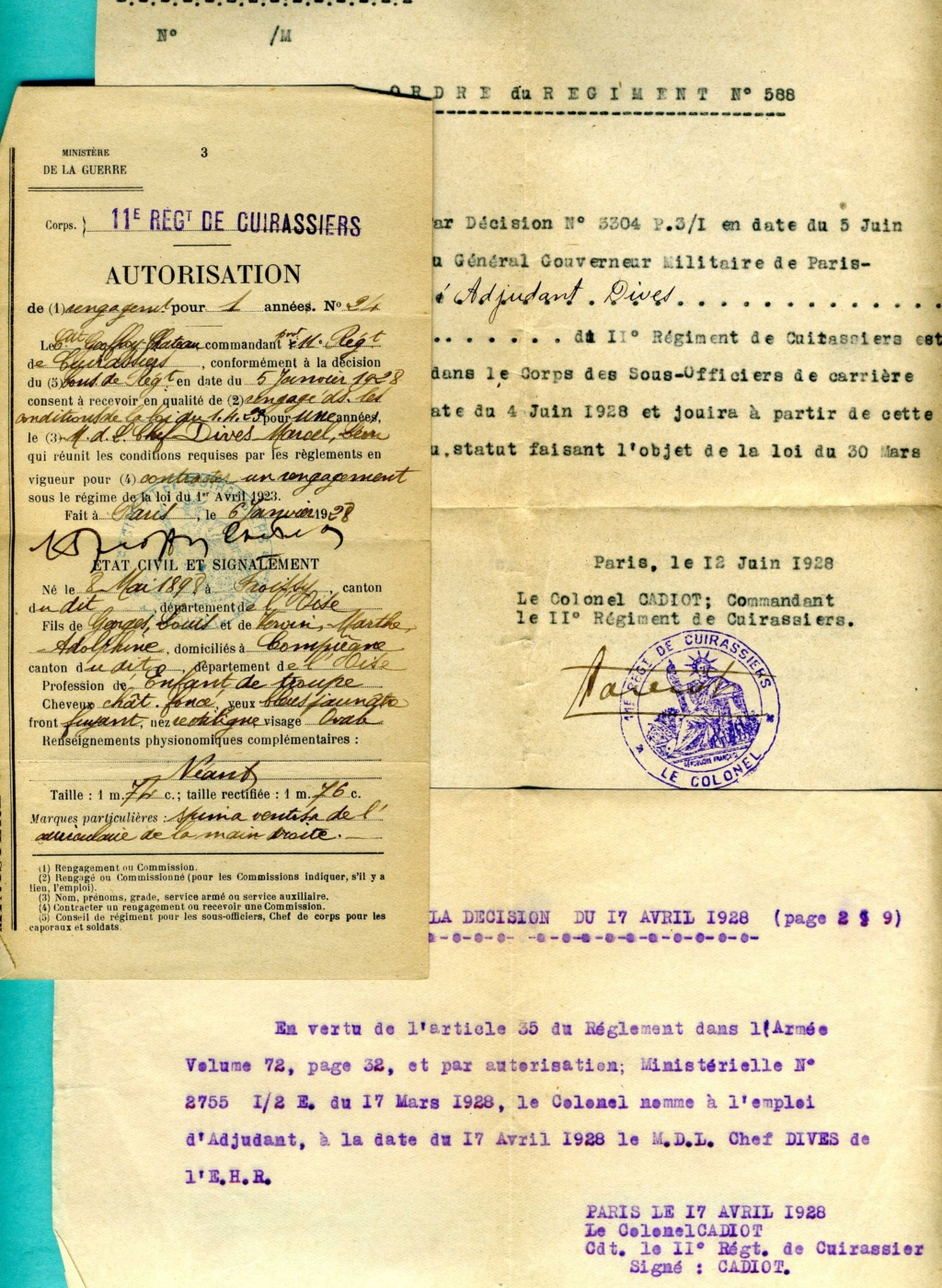 lot papiers sous-off cavalerie 1917-1928 spahi cuirassier chasseur  Img92010