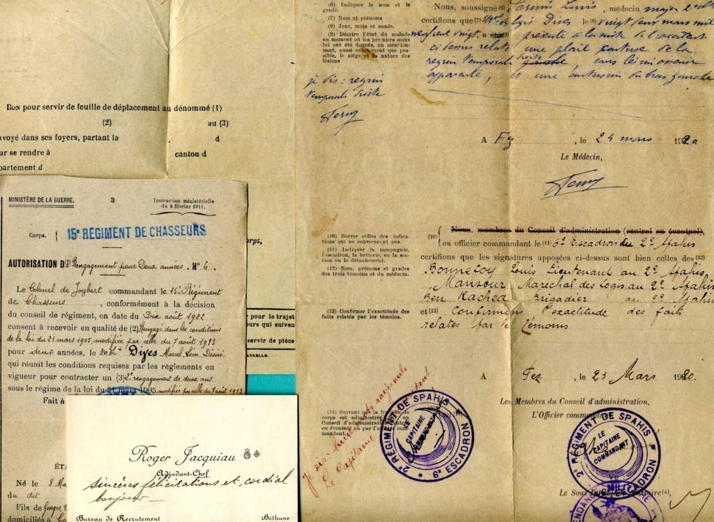 lot papiers sous-off cavalerie 1917-1928 spahi cuirassier chasseur  Img92210