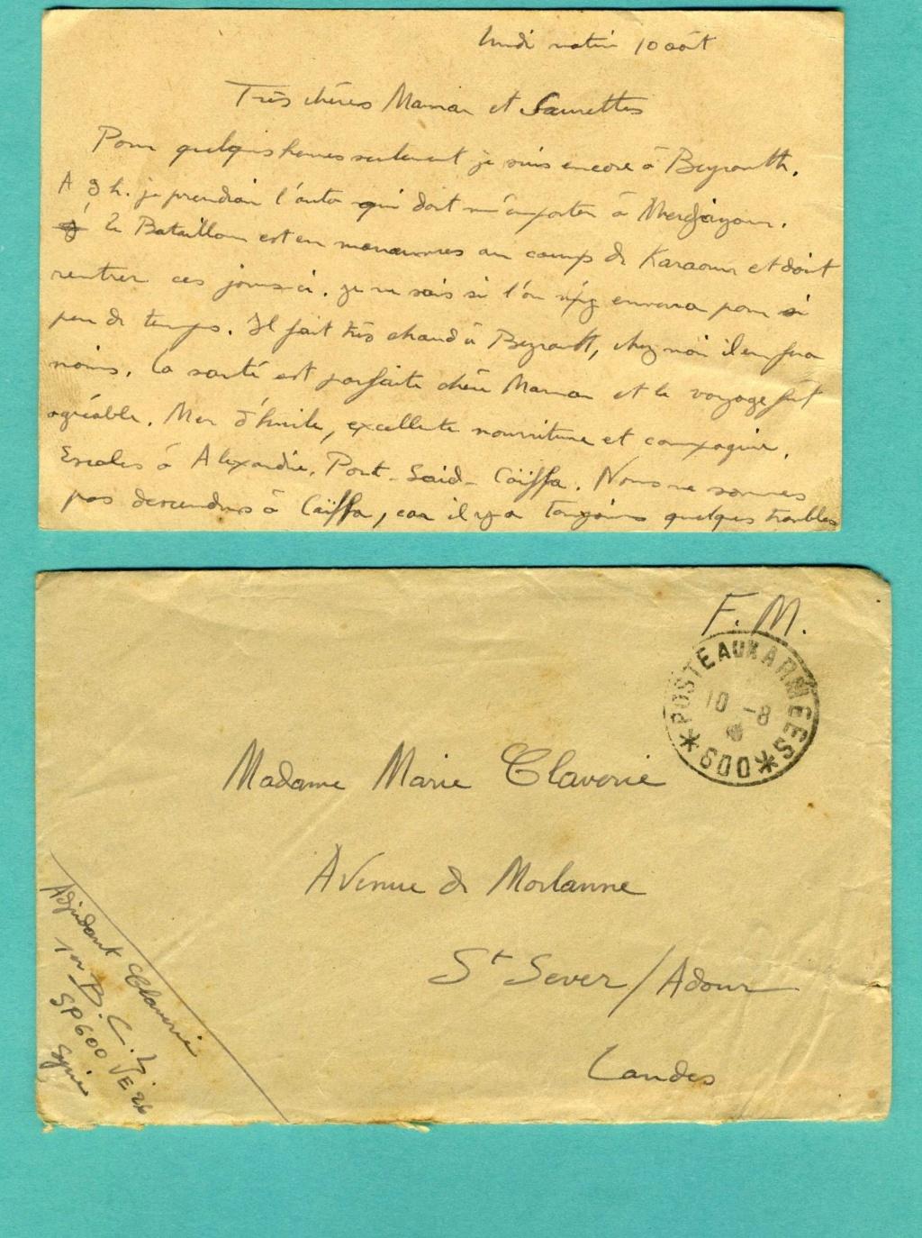 correspondance d'un adjudant du 1er Bataillon de Chasseurs Libanais - Levant années 1930 Img93810