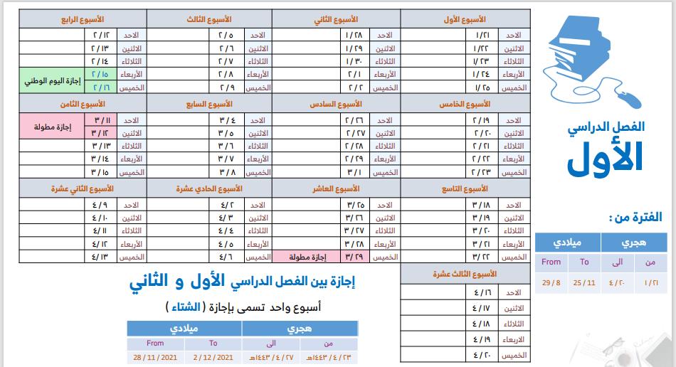 التقويم الدراسي الثلاثة فصول 1443 والاجازات الرسمية فى المملكة Aoaioa13