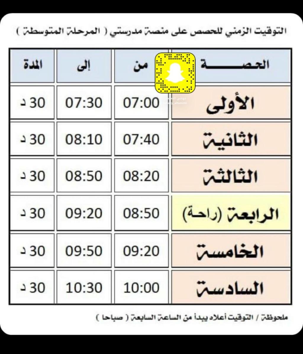 جدول حصص منصة مدرستي 1442 الان Egdz-z11