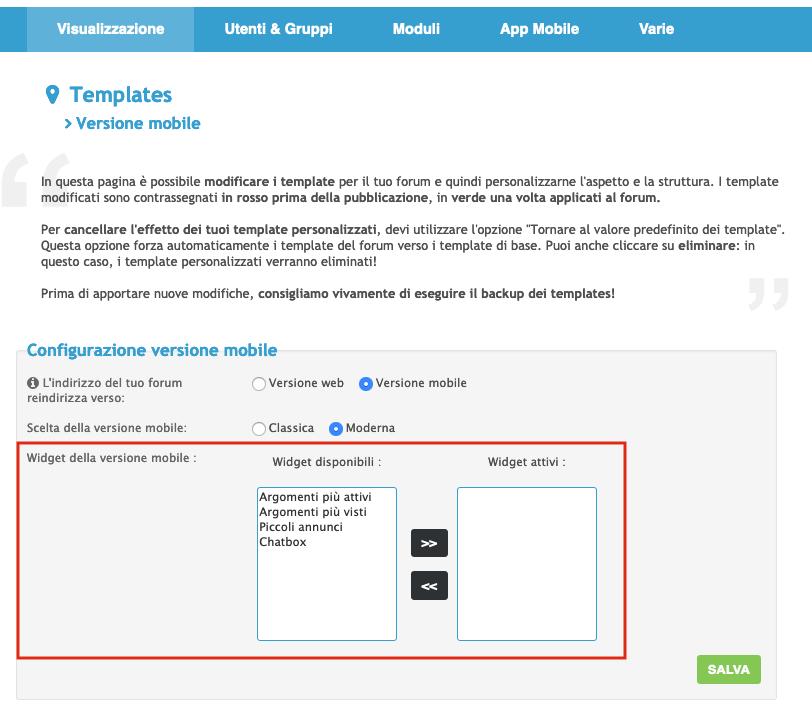 I widget sono ora disponibili anche sulla versione mobile moderna dei forum Scherm33