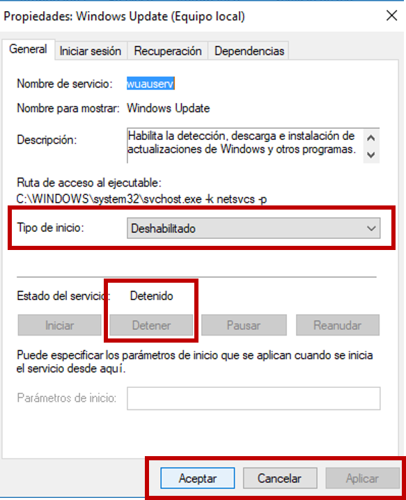 Desactivar servicios que consume  Internet en Windows 10 Servic10