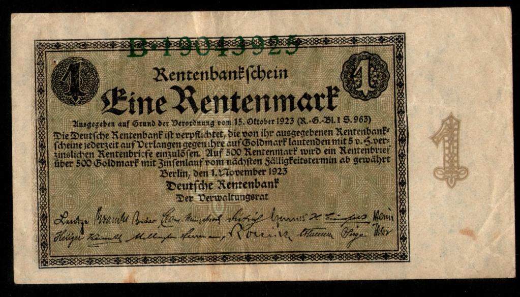 1 Rentenmark 1.923. República de Weimar, Alemania 1_rent10