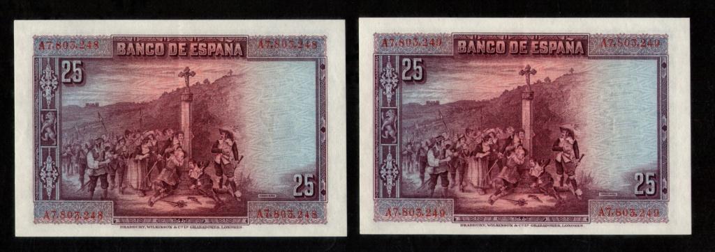 25 pts. de 1.928 Calderón de la Barca. Pareja correlativa serie A. 25_pts13