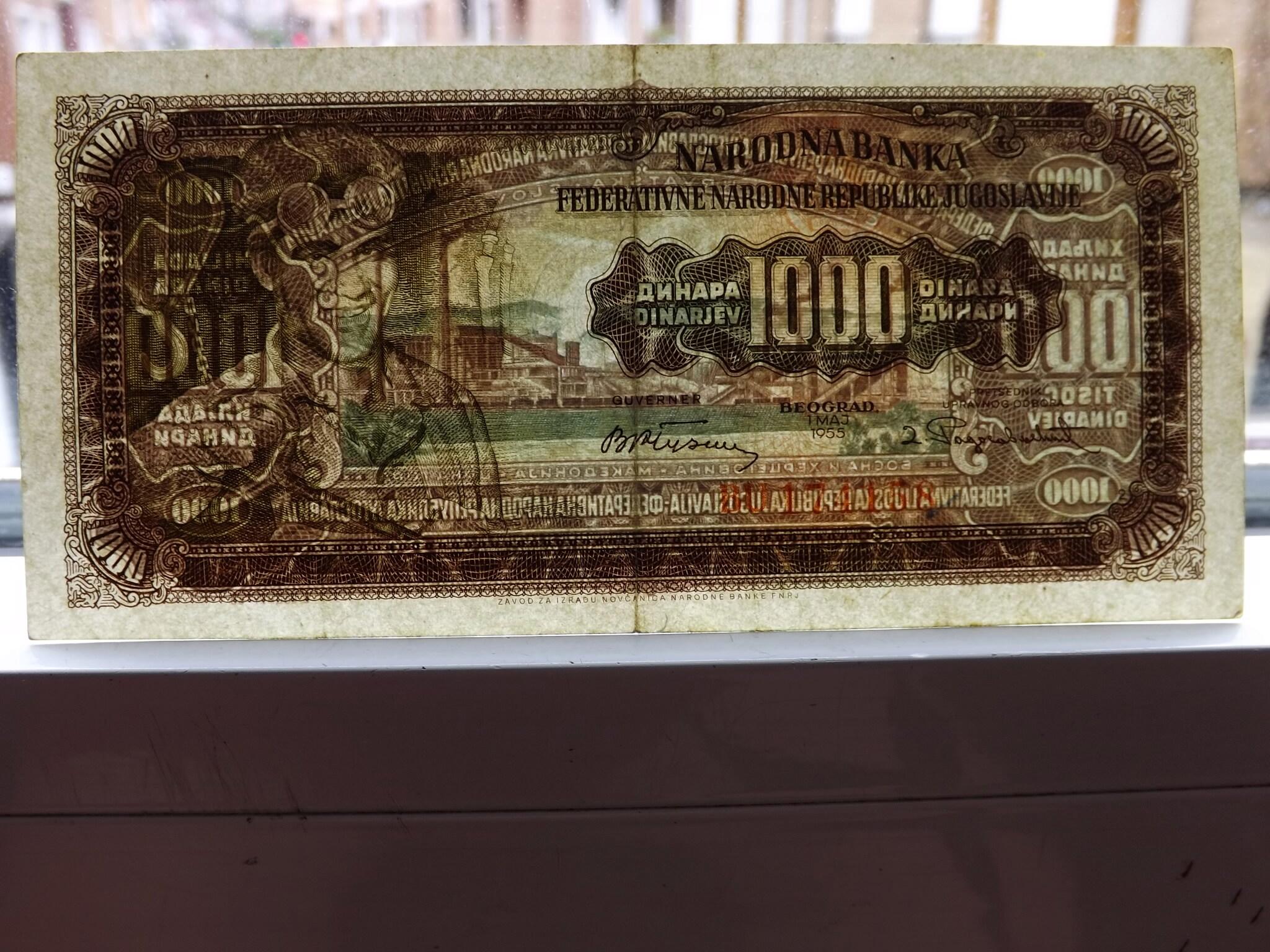 La cara oculta de los 1.000 Dinares de 1.955 en Yugoslavia. Dscf6421