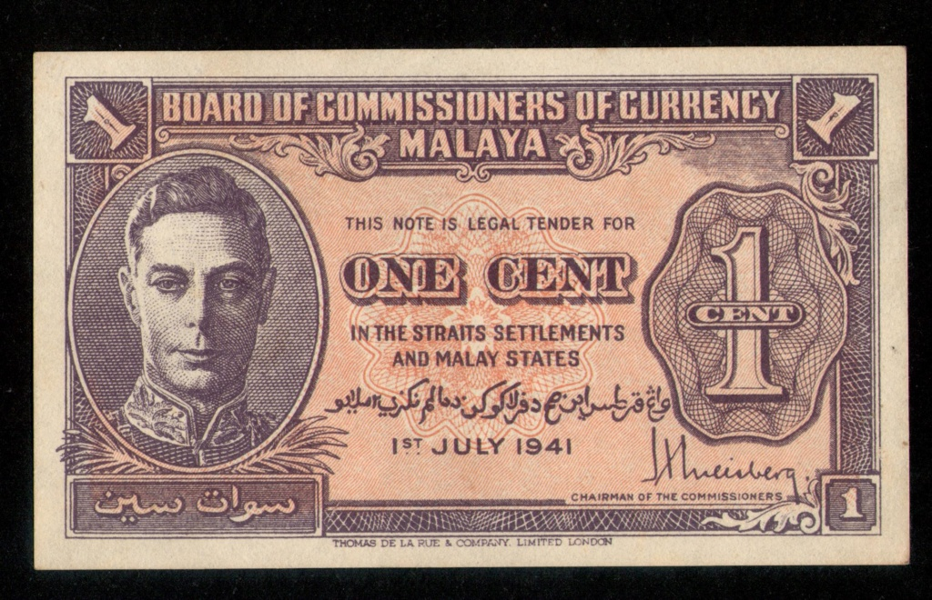 1 Centavo de Dólar malayo 1-7-1.941, Malasia. Malasi10