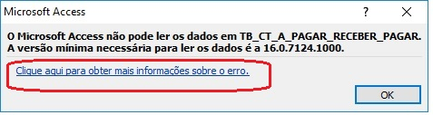 [Resolvido]Erro abertura de tabela access versão 2010 resolvido erro 16.0.7124.1000 011
