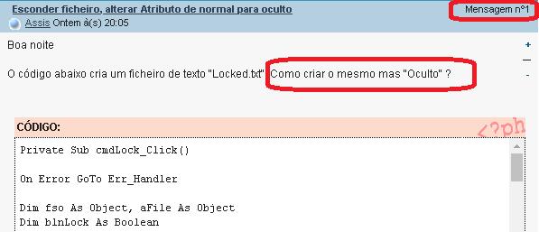 [Resolvido]Esconder ficheiro, alterar Atributo de normal para oculto 0168
