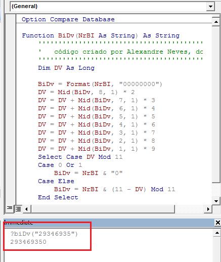 [Resolvido]Gerar digito controlo BI 017