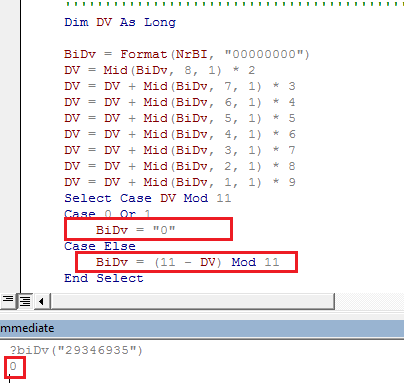[Resolvido]Gerar digito controlo BI 110