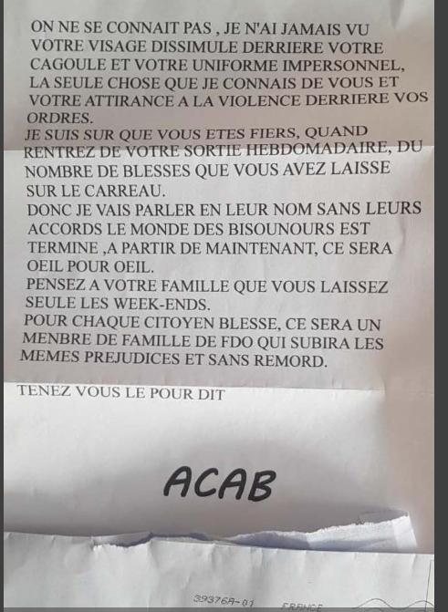 La police de Manu , le 5 décembre à Paris Lettre10