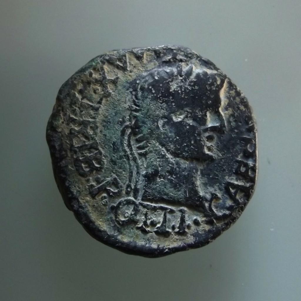 As de Tarraco, época de Tiberio. IVLIA AVGVSTA DRVSVS CAES TRIB POT IV / CVT. Cabezas afrontadas de Druso y Livia. B211