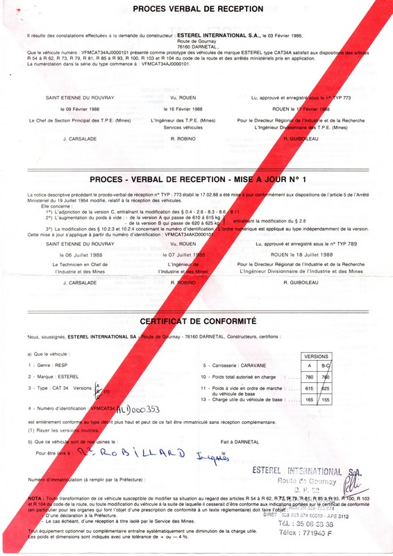 documents fournis avec mon Esterel Cdc0310