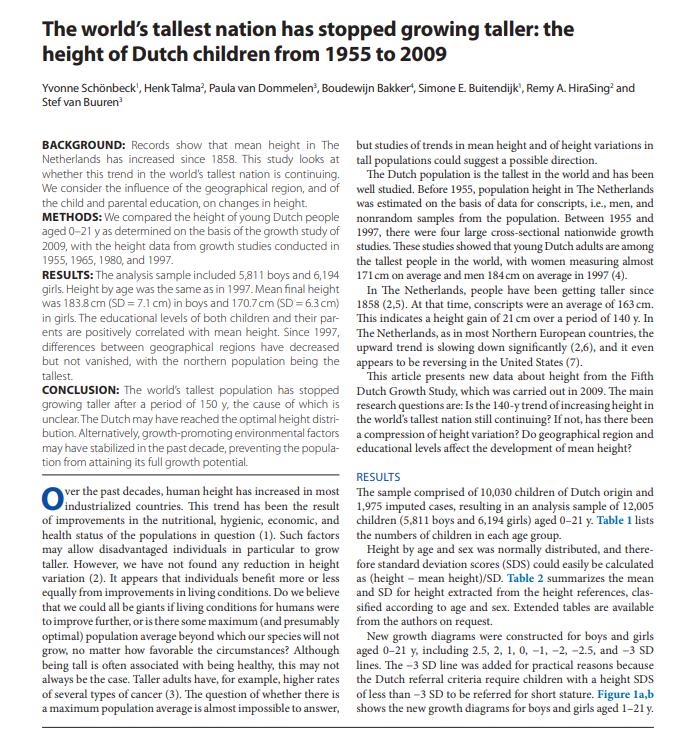 La estatura media en Holanda en los jóvenes es de 184cm y no parece que vaya a subir mucho más Dutch110