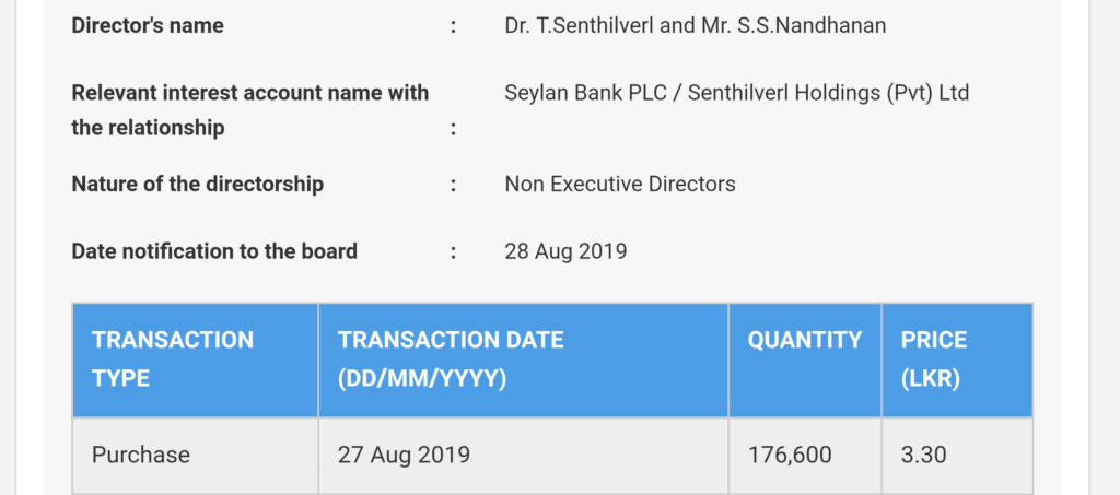 Dr Senthilval Dealing Directors in PAP( Panasian Power) 20190816