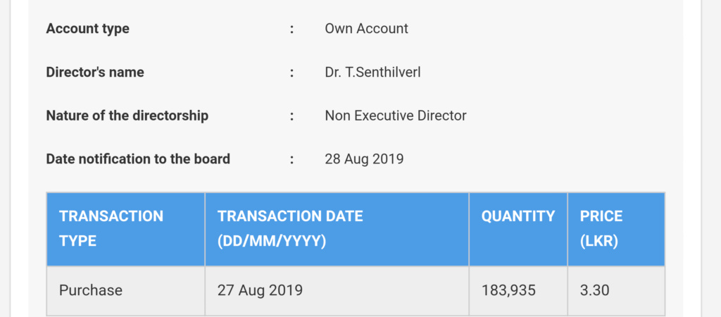 Dr Senthilval Dealing Directors in PAP( Panasian Power) 20190818