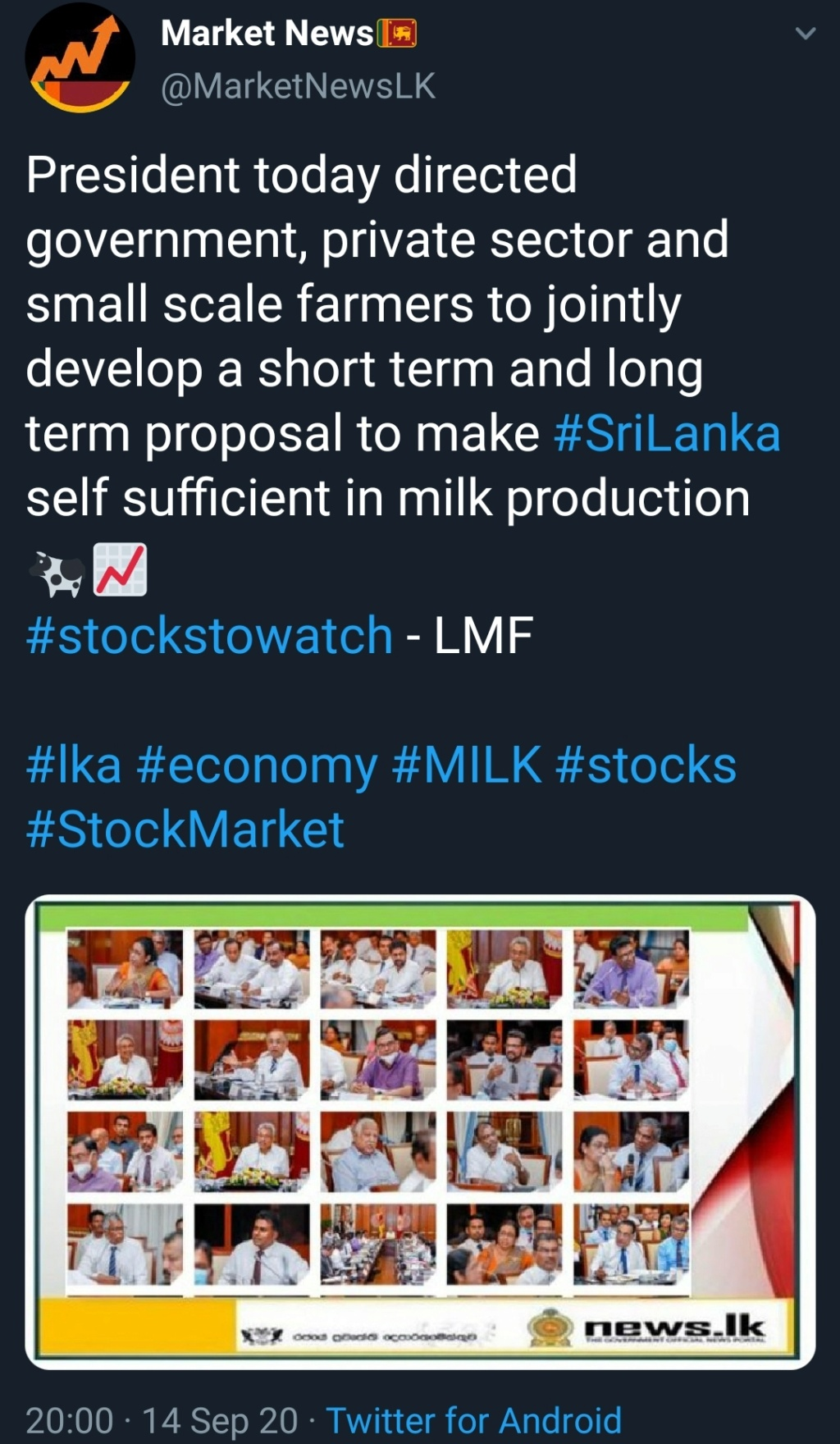 """""""The Lanka Milk Foods Group is committed towards meeting stakeholder needs through strategic expansion, quality improvement mechanisms and national self-sufficiency in milk production and we embark in a 3 billion dairy farm. Scree174"""