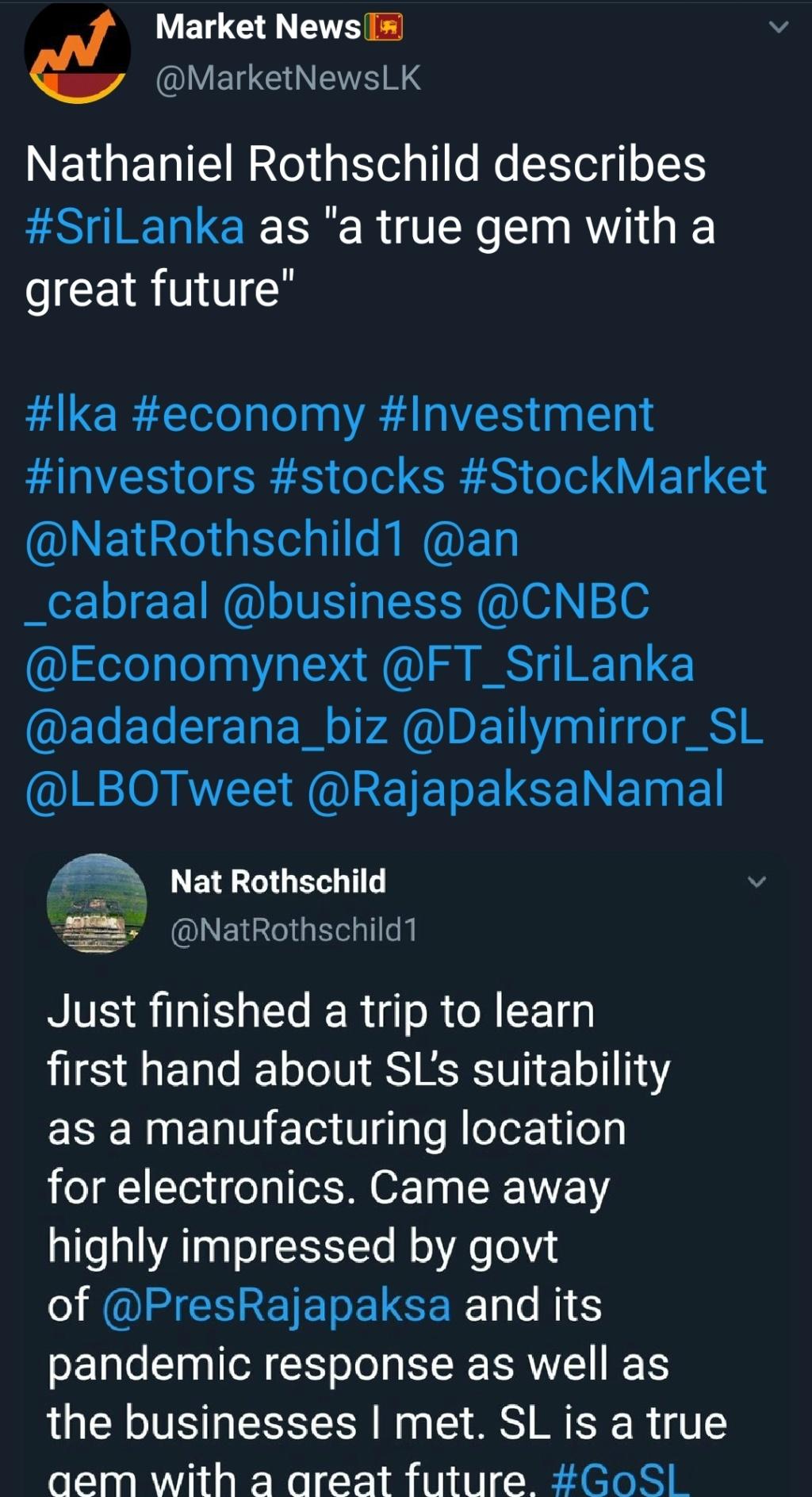 Rothschild Impressed by Sri Lanka  Scree217