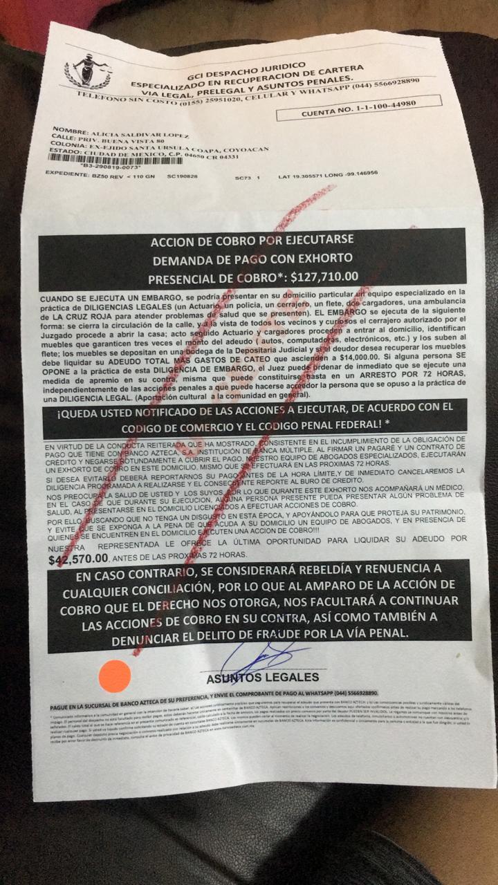 deuda con banco azteca Whatsa10