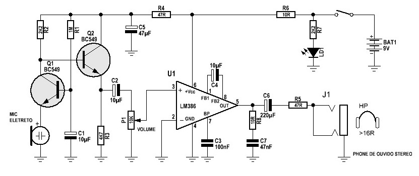 Circuito de aparelho auditivo Amplif10