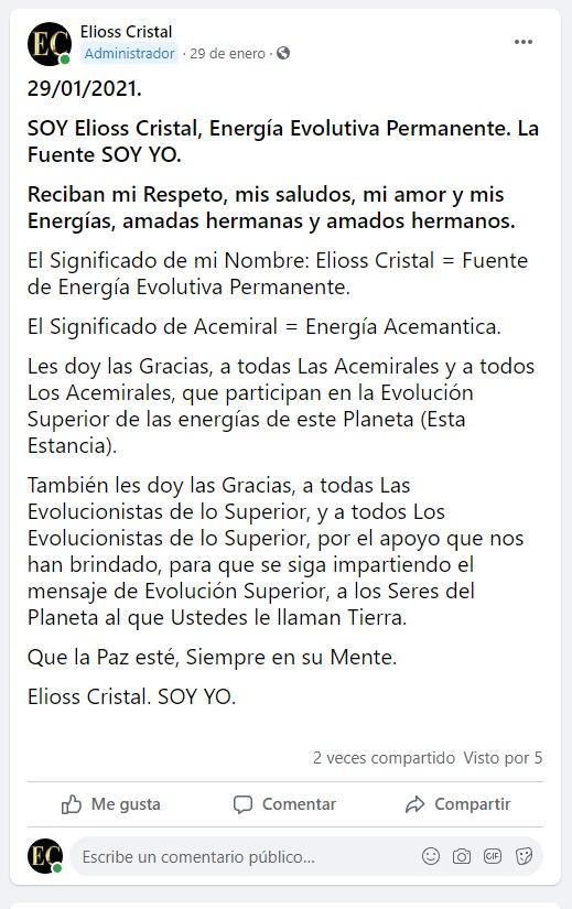 Biografía de Elioss Cristal dirigente de las Acemirales, y de los Acemirales Rx10