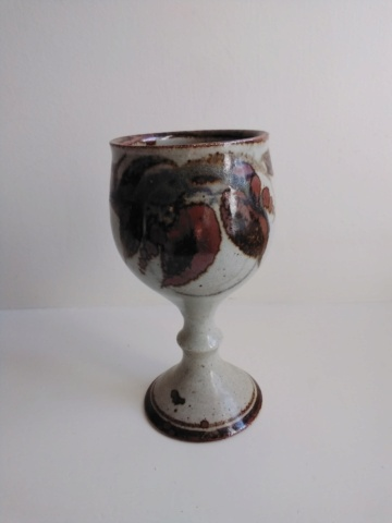 Unknown makers marks goblet with leaf decoration - by Oldrich Asenbryl  20200918