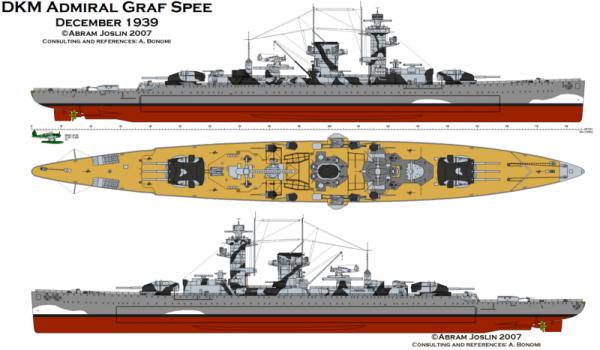 "Fil rouge 2020 : (Heller) Croiseur lourd ""Graf Spee"" - 1/400. 25792810"