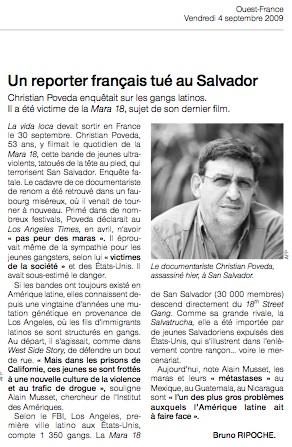 Ouest-France: Un reporter français tué au Salvador 2009-010