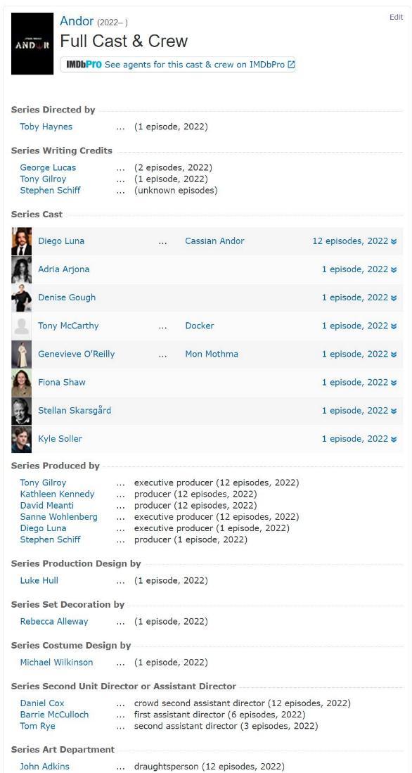 Star Wars Andor : Les RUMEURS de la série Disney+ Imdb_l10