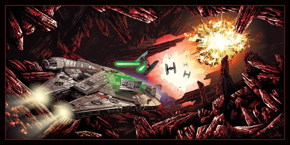 The Falcon on Crait - Artwork Star Wars - ACME Archives The_fa10