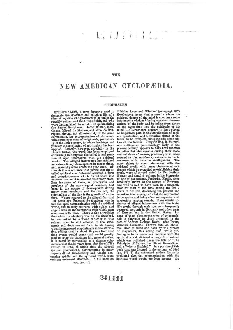 New American Cyclopedia 1862 Spiritualism Newamc10