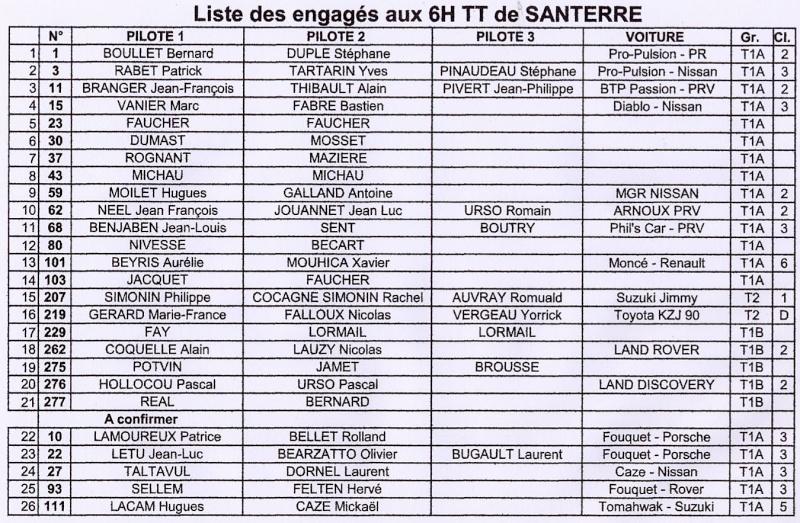 Santerre - Santerre: liste des engagés au 15 Octobre Santer11