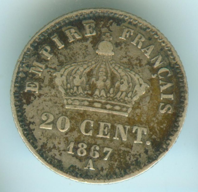 impériale - 2nd Empire - 20 centimes Napoléon III 1867 A 20ctna10