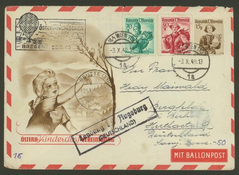 Die Privatganzsachen der österreichischen Ballonpost Ballon15