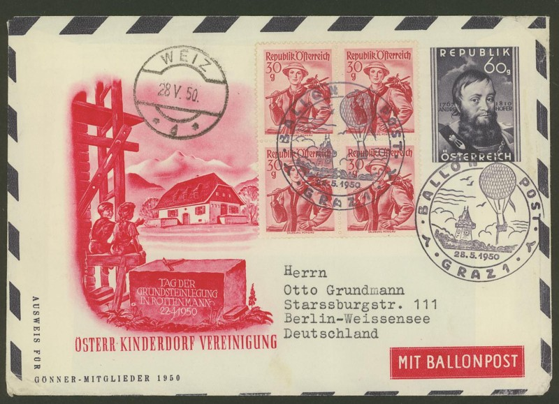 Die Privatganzsachen der österreichischen Ballonpost Ballon16