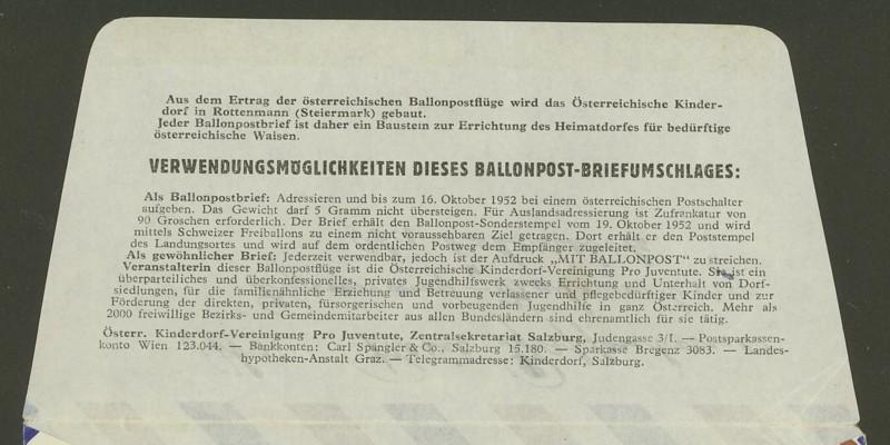 Die Privatganzsachen der österreichischen Ballonpost Ballon26