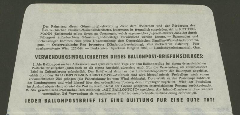 Die Privatganzsachen der österreichischen Ballonpost Ballon36